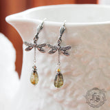 Art Nouveau Dragonfly Earrings in Silver