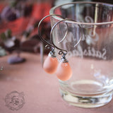 Fairy Drop Earrings in Peach. Simple Rustic Everyday Czech Glass Hoop Drop Earrings in Aura. Sterling Silver or Copper.