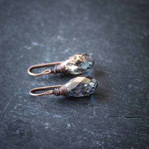 Ljosalfheim Drops.  Rose Gold Swarovski Crystal Earrings.