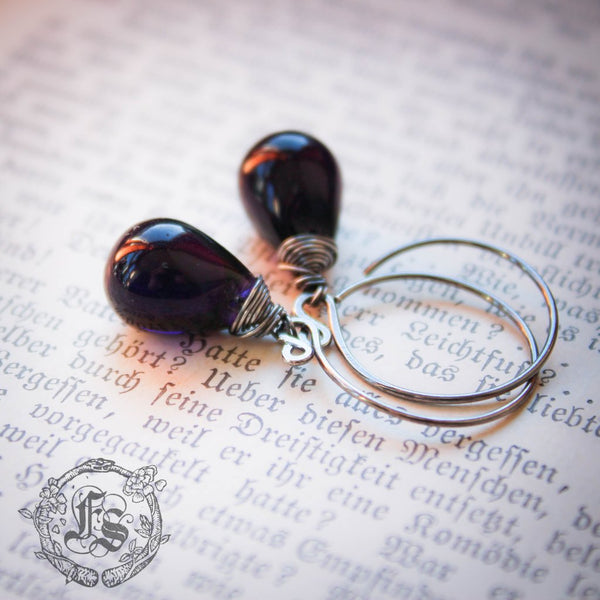 Fairy Drop Earrings in Dark Purple. Simple Rustic Everyday Czech Glass Hoop Drop Earrings in Nightshade. Sterling Silver or Copper.