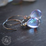 Fairy Drop Earrings in Lavender. Simple Rustic Everyday Czech Glass Hoop Drop Earrings in Unicorn Tears. Sterling Silver or Copper.
