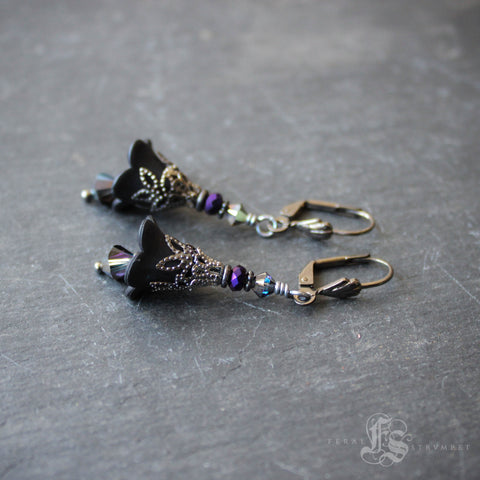 Black Fairy Flower Earrings with Gunmetal.