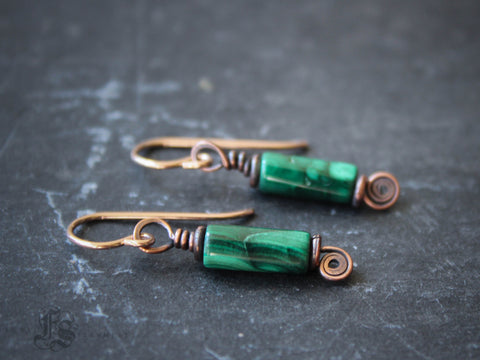 Fairy Keys. Simple Malachite and Copper Earrings for Everyday.
