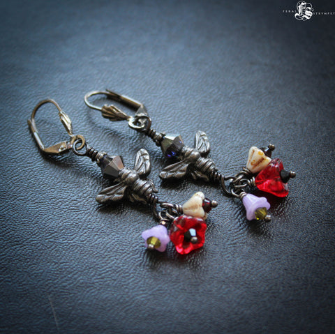 Witches Flying Ointment Flower and Bee Earrings.  Gothic Floral Jewellery for the Pagan Hedge Witch.