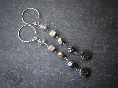 The Gloaming Chains.  Long Labradorite Chain Earrings in Sterling.