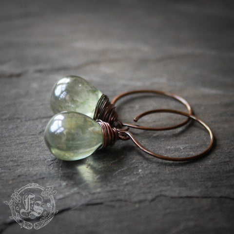 Drops from the Fairy Pool.  Simple, Rustic Everyday Czech Glass Hoop Earrings in Copper