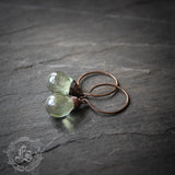 Fairy Drop Earrings in Pale Green. Simple Rustic Everyday Czech Glass Hoop Earrings in Sterling Silver or Copper. Drops In A Fairy Pool.