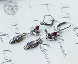 Frida Khalo Bird and Hand Earrings with Garnet Accents