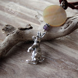 Hare and Moon Pendant Necklace in Silver