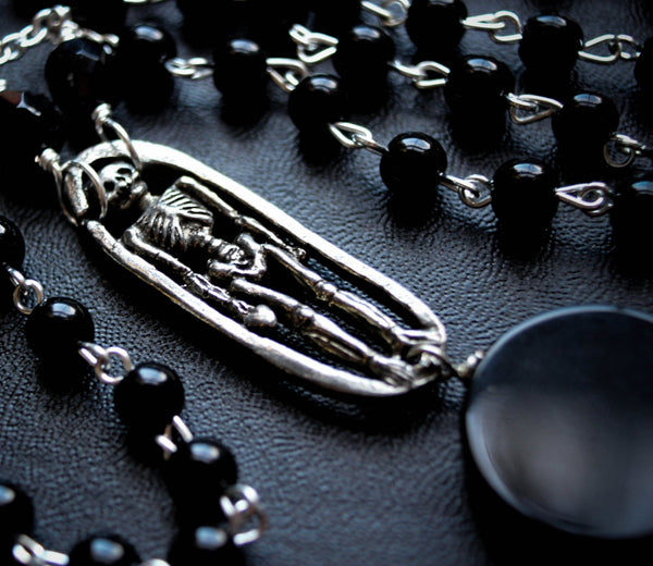 Long Dark Moon Skeleton Rosary Necklace Black Gothic Necklace.