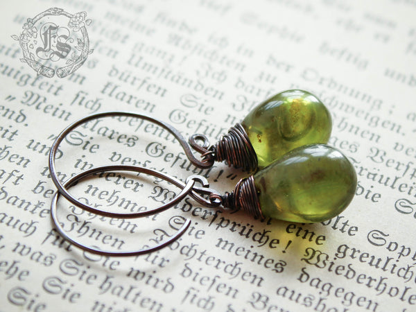 Fairy Drop Earrings in Moss Green. Simple Rustic Everyday Czech Glass Hoop Drop Earrings in Potion With Sterling Silver or Copper.