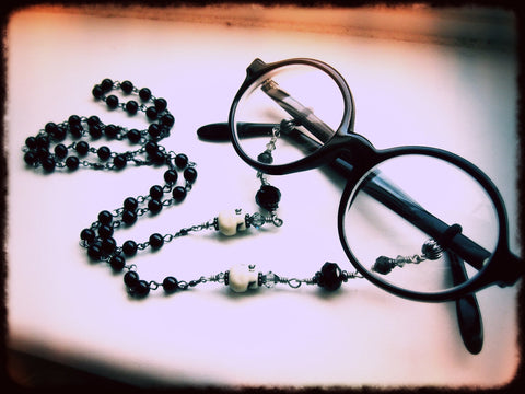 Gothic Glasses Chain. Upcycled Rosary with Skulls & Crystals. Morbid Librarian Chic. MADE TO ORDER