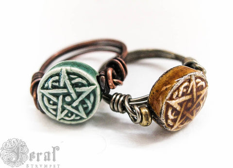 Kitchen Witches Pentagram Ring. Wire Wrapped in Brass or Copper. Choose size and colour. Pentacle