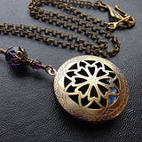 Scent or Perfume Locket Necklace in Antique Brass. Victorian Filigree Aromatherapy in custom colours