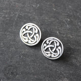 Vintage St. Justin Celtic Triquetra Button Earrings.