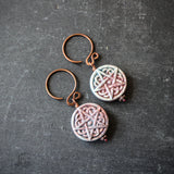 Hearth Goddess Hangers.  14g Raku Pentagram Ear Weights in copper.