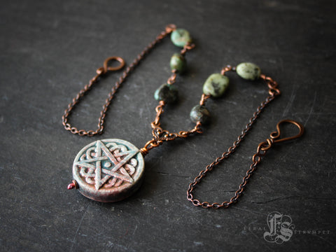 Hearth Goddess Necklace.  Raku Pentagram and Turquoise Necklace in Copper.