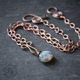 Knitting Clasp Brooch with Labradorite Drop. Pennanular Pin for Handknits