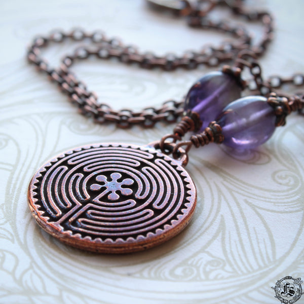 Labyrinth Pendant Necklace in Copper. Chartres Everyday Meditation Necklace.
