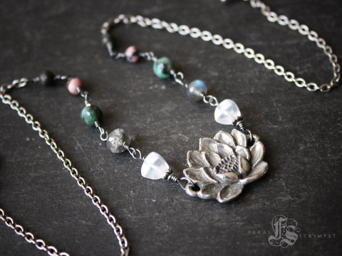 Lotus Flower Necklace with Labradorite, Rose Quartz and Emerald.