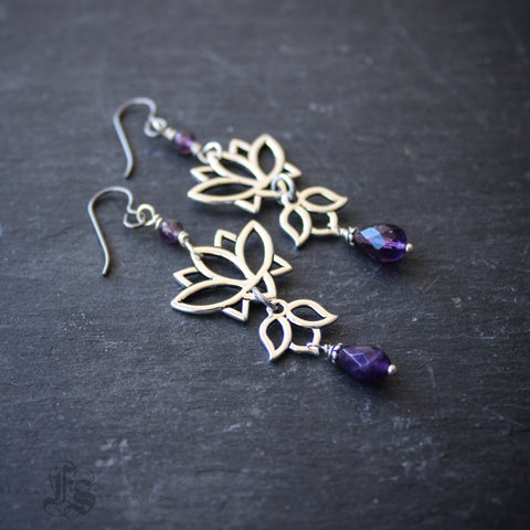 Long Lotus Statement Earrings with Amethyst.