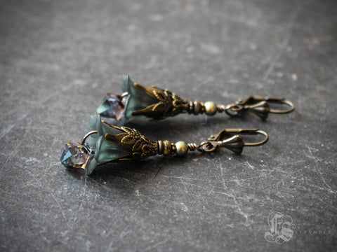 Abyssal Blooms.  Deep Sea Mermaid Flower Earrings.
