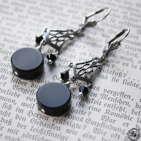 Doctor Dee's Scrying Mirror Earrings. Gothic Victorian Witch Earrings.