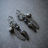 Morrigan's Raven Earrings.  Black Gothic Talon Earrings.