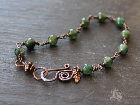 Witches Ladder Bracelet.  Custom Beaded Link Bracelet in Copper and Moss Agate or Your Choice of Stone.