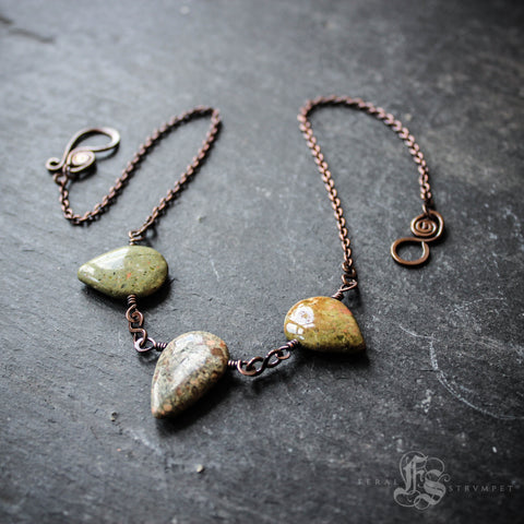 Urd, Verdandi and Skuld. Unakite and Copper Bib Necklace. The Norns.
