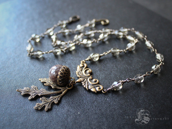 The Oak King's Bride. Victorian Acorn and Oak Leaf Necklace.