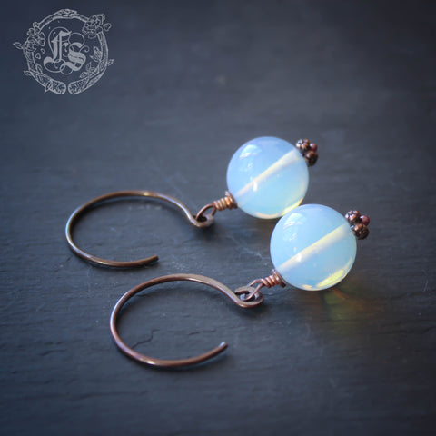 Opal Moons. Opalite Ear Weight Hangers in 14g Copper.