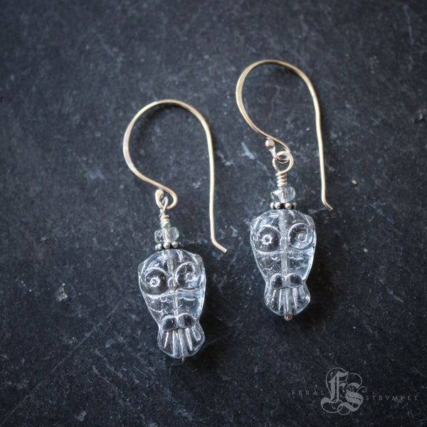 Snow Owl Earrings of Sterling Silver and Czech Glass.