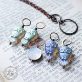 A Parliament of Owls Stitch Marker Set.  Owl and Moon Necklace for Knitters.