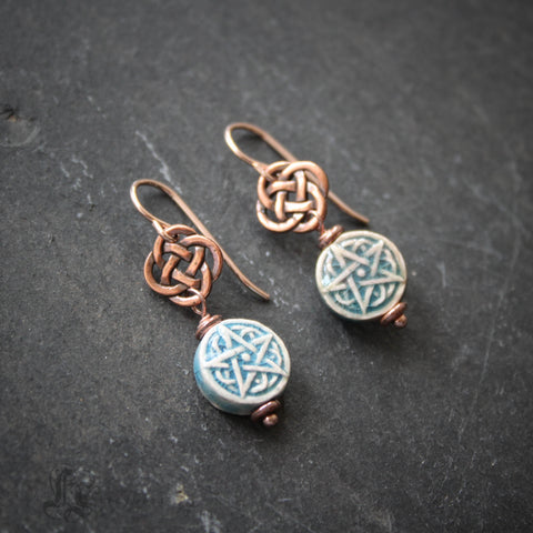 Brigid's Drops.  Celtic Raku Pentagram Earrings in Copper.