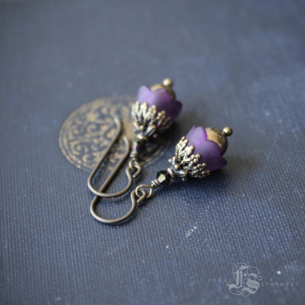 Self Heal Flower Earrings. Purple Fairy Blossom Earrings.