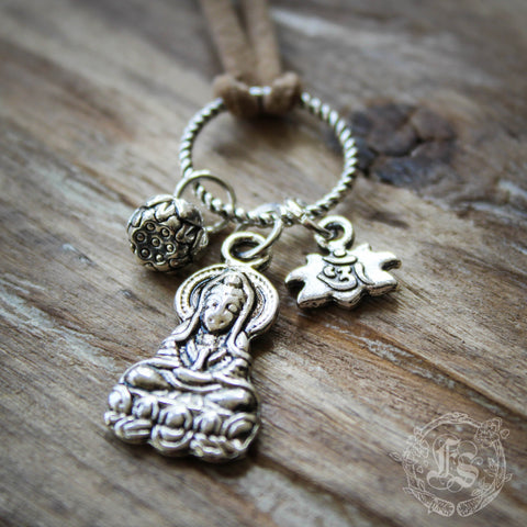 Guanyin Devotion Pendant Charm Necklace.