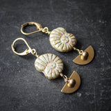 Ran's Spirals. Czech Glass Shell Earrings in Brass.
