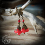 Scarlet Pimpernel Red Fairy Flower Earrings.