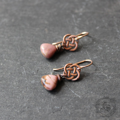 Rose Knots. Celtic Drop Earrings in Rhodonite and Copper.