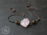 Raw Turkish Delight Rose Quartz Necklace with African Turquoise and Czech Glass Lanterns.