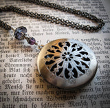 Gothic Perfume or Scent Locket Necklace in Antique Silver