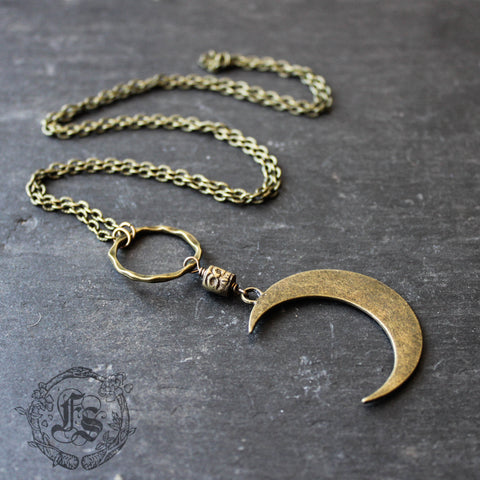 Shaman's Moon Pendant Necklace. Long Statement Crescent Moon Necklace.