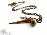 Vampire Slayer Stake Necklace in Gunmetal with Glass Garlic Bulb. Buffy Fan. Gothic