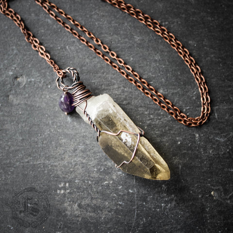 The Dark Fey. Raw Smoky Quartz Pendant Necklace. Wire Wrapped in Copper.