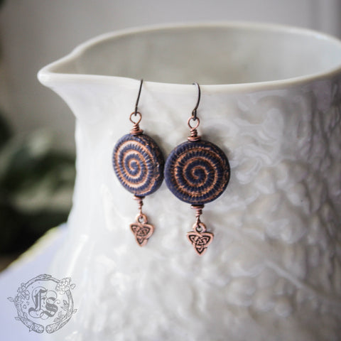 Ran's Crescents. Spiral Czech Glass Shell Earrings.