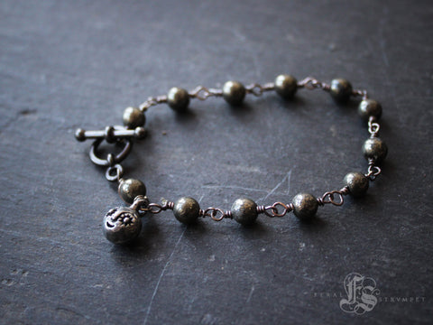 Starry Eyes Bracelet with Pyrite Links.