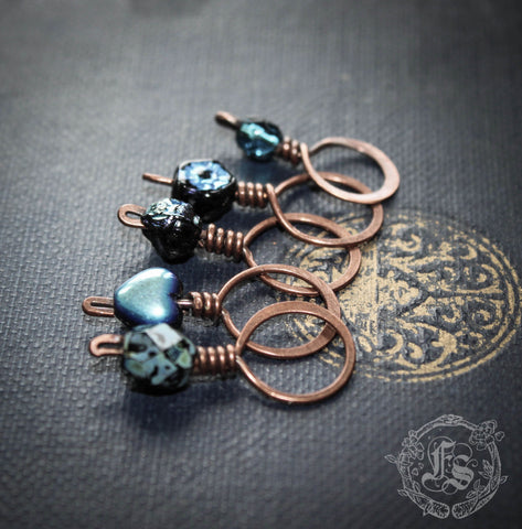 Custom Stitch Marker Set of 5 for Top Down Knitting. Knitter's Necklace.