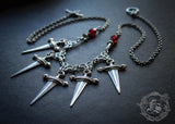 Five of Swords Bib Statement Necklace. Tarot Inspired Jewellery.