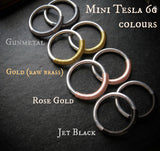 Mini Tesla 4g Hoops in Aluminum. In Jet black, Rose Gold, Gunmetal, or Raw Brass Gold.